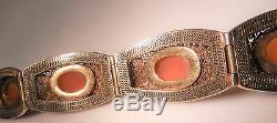 Antique Chinese Export Gilt Silver Filigree Carnelian Cornelian Bracelet, Ex Cond