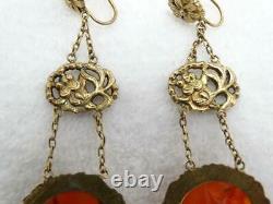 Antique Chinese Export Gilt Silver Koi Fish Carnelian Drop Dangle 3 Earrings