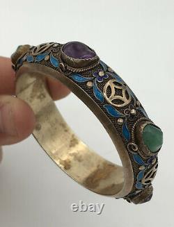 Antique Chinese Export Gold Gilt Silver Enamel Multi Gemstone Bangle Bracelet