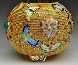 Antique Chinese Export Gold Gilt Sterling Silver Enamel Tea Caddy