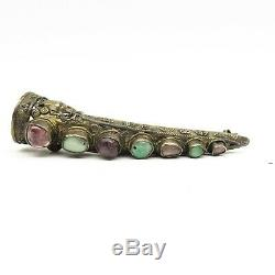 Antique Chinese Export Gold Washed Silver Tourmaline & Jade Fingernail Pin 11.7g