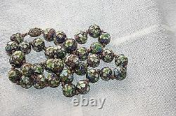 Antique Chinese Export Hand Made Knotted 24k Gold On Silver Cloisonne Necklace