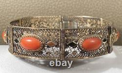 Antique Chinese Export Red Coral 800 Silver Gold Wash Vermeil Filigree Bracelet