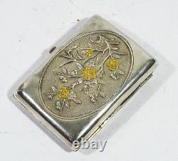 Antique Chinese Export Silver Gigarette Case Box Card Inlaid Gold Dragon