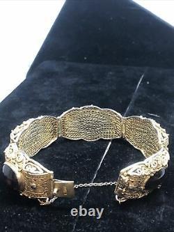 Antique Chinese Export Silver Gilt Filigree Garnet Bracelet 18mm Wide 6 Long
