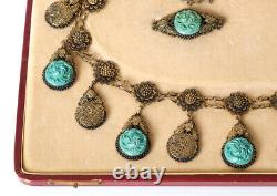 Antique Chinese Export Silver Gilt Filigree Necklace Brosch And Ring