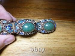 Antique Chinese Export Silver Gold Gilt JADE Enamel Bracelet