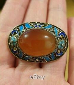 Antique Chinese Export Solid Silver Gilt Natural Agate/Carne. W. Enamel Brooch