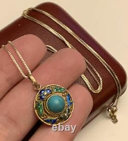 Antique Chinese Export Sterling Silver Gold Gilt Turquoise Enamel Necklace