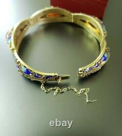 Antique Chinese Export Yellow Gold Gilt Carnelian 925 Sterling Silver Bracelet