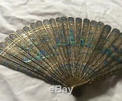 Antique Chinese Filigree Silver Gilt Enamel Fan