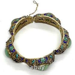Antique Chinese Gilded Filigree Ename Silver Jade Bracelet. 7