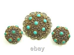Antique Chinese Gilded Filigree Sterling Silver Turquoise Brooch Earrings Set