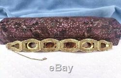 Antique Chinese Gilded Silver Filigree Bracelet with Tigers Eyes Gemstones