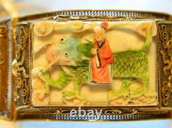 Antique Chinese Gilded Silver Filigree Carved Dragon Cuff Bracelet 7 in