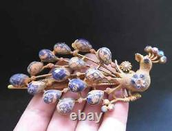 Antique Chinese Gilded Silver peacock hairpin/Jewelry 40g, 19th