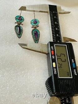 Antique Chinese Gilt Enamel Turquoise Amethyst Sterling Silver Dangle Earrings