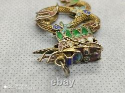 Antique Chinese Gilt Metal Filigree Enamel Ornate Dragon Pendant, 45mm high