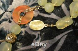 Antique Chinese Gilt Over Silver Carnelian Jade And Chrysoprase Necklace