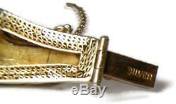 Antique Chinese Gilt Silver Art Nouveau Carnelian & Enamel Five Panel Bracelet