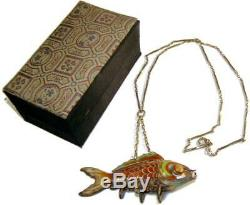 Antique Chinese Gilt Silver Articulated Orange Cloisonne Koi Fish Pendant with Box