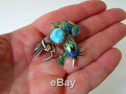 Antique Chinese Gilt Silver Cloisonne Enamel Bird Brooch Pin