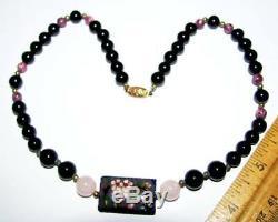 Antique Chinese Gilt Silver Cloisonne Rose Quartz Black Coral Pk Jasper Necklace