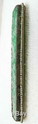 Antique Chinese Gilt Silver Filigree Carved Jade Jadeite Seed Pearl Brooch