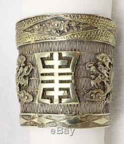Antique Chinese Gilt Silver Filigree Dragons Wide Hinged Bangle Bracelet 2 5/8