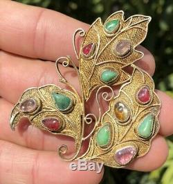 Antique Chinese Gilt Silver Green Apple Jade & Pink Tourmaline Leaf Pin Brooch