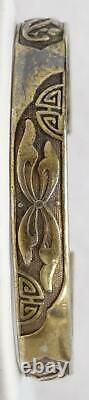 Antique Chinese Gilt Silver Hand Chased Split Bracelet 31.4g Signed