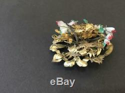 Antique Chinese Gilt Silver Pin Ornament Dragon Butterfly Flower Trembling
