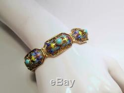 Antique Chinese Gilt Silver & Turquoise Art Nouveau Panel Bracelet w Enamel Bats