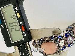 Antique Chinese Gilt Sterling Silver Filigree Enamel Pink Coral Link Bracelet