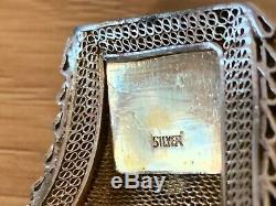Antique Chinese Gilt Sterling Silver Filigree Enamel Tiger Eye Stones Bracelet
