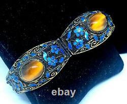 Antique Chinese Gilt Sterling Silver Filligree Enamel Tiger Eye Bracelet