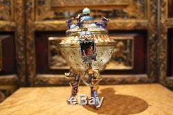 Antique Chinese Gold Gilt 925 Sterling Silver Filigree Dragon Enamel Jade Bowl