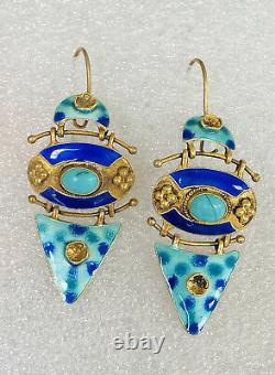 Antique Chinese Gold Gilt Enamel Blue Turquoise Sterling Silver Dangle Earrings