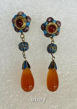 Antique Chinese Gold Gilt Enamel Sterling Silver Carnelian Dangle Earrings