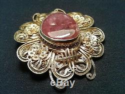Antique Chinese Gold Gilt Silver Exquisite Hand Filigree Pendant Pin Amethyst