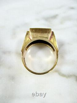 Antique Chinese Gold Washed Sterling Silver Double Happiness Enameled Ring Sz 7