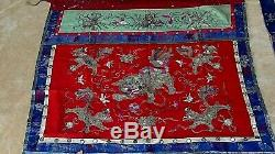Antique Chinese Gold&silver Thread Foo-lion Silk Altar Embroidery Banner #1