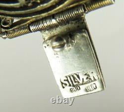 Antique Chinese Handcrafted Gilded Silver Jade Gemstone Wide Statement Bracelet