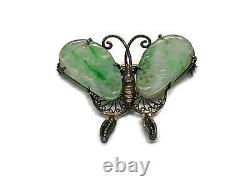 Antique Chinese Jadeite Butterfly Brooch Pin Gilt Silver Filigree Rare 1930s