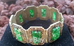 Antique Chinese Jadeite Jade Gilt Silver Bracelet/Carved Jade Silver Bracelet