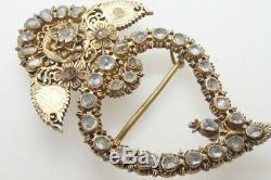 Antique Chinese Peranakan Silver Gilt Jargoon Kerongsang Serong Heart Ibu Brooch