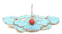 Antique Chinese Qing Kingfisher Feather Jewelry Hair Pin Gold Gilt Silver Brooch