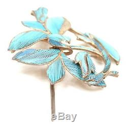 Antique Chinese Qing Kingfisher Feather Jewelry Hairpin Gold Gilt Silver Brooch