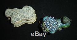 Antique Chinese Qing Silver Filigree Mesh Gilt & Enamel Foo Dog Lion Beast Rare