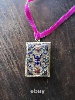 Antique Chinese Qing Vinaigrette Locket Pendant Gilt Silver Enamel